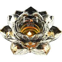 5Soportes de Flor de loto portavelas de cristal
