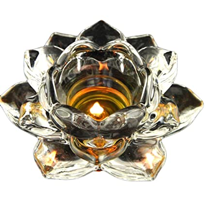 """9d9795f748 5"""" Crystal Lotus Flower Candle Holders Glass Tealight Meditation  Candles Holders Christmas Table Decoration Pack"""