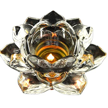 5 Crystal Lotus Flower Candle Holders Glass Tealight Meditation