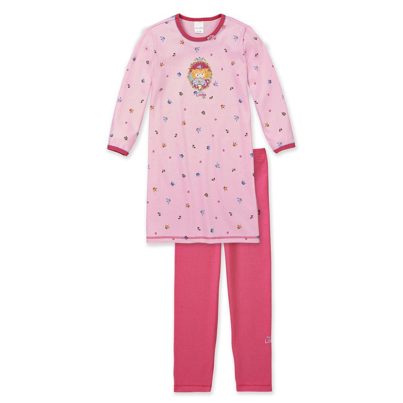 Schiesser Mädchen Schlafanzug, Sleepshirt, Nachthemd + Leggings, Prinzessin Lillifee, rosa, 143760