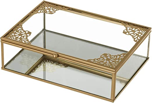 Joyero Caja de Cristal y Metal Dorada clásica, de 20x14x6 cm ...