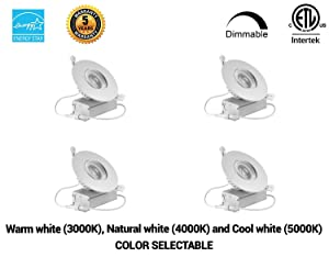 (4 Pack)4 inches led Gimbal Downlight-Directional Adjustable, 12W=(100W) Dimmable LED Retrofit Recessed Lighting Fixture with IC Rated Junction Box, 1100lm, 3000K,4000K,5000K Changeable, 120V, ETL ES