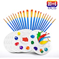 20-Pieces Hulameda Paint Pallet Brushes with 6 Pieces Paint Trays