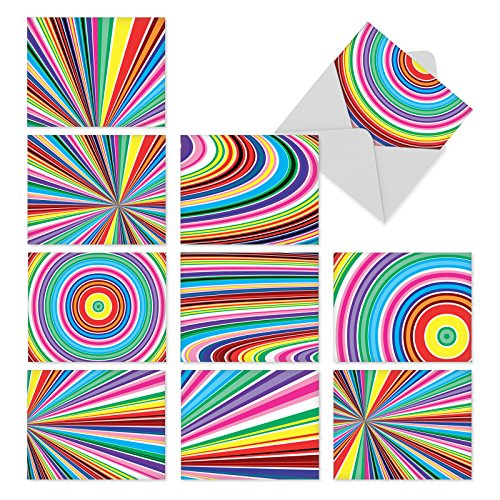 M3110 Acid Rainbow: 10 Assorted Blank All-Occasion Note Cards Feature Mesmerizing Op Art-like Patterns of Bright Colors, w/White Envelopes. (Folded Rainbow Note)