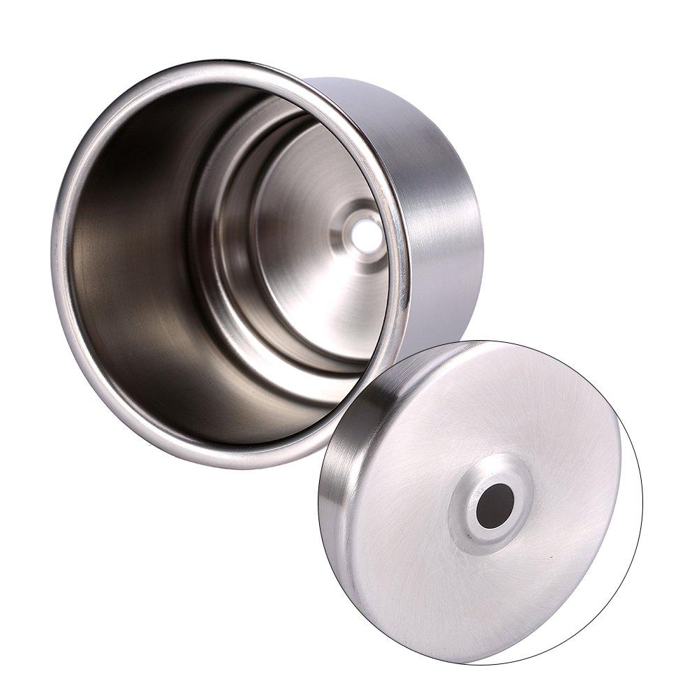 2Pcs Stainless Steel Cup Drink Holder for Boat Universal Drink Bottle Can Cup Holder Insert Marine with Insert Drain Hole for Marine Rv Boat Yacht Car
