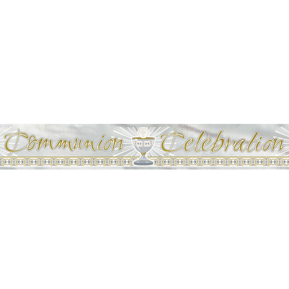 12ft Foil Gold & Silver Radiant Cross First Communion Banner
