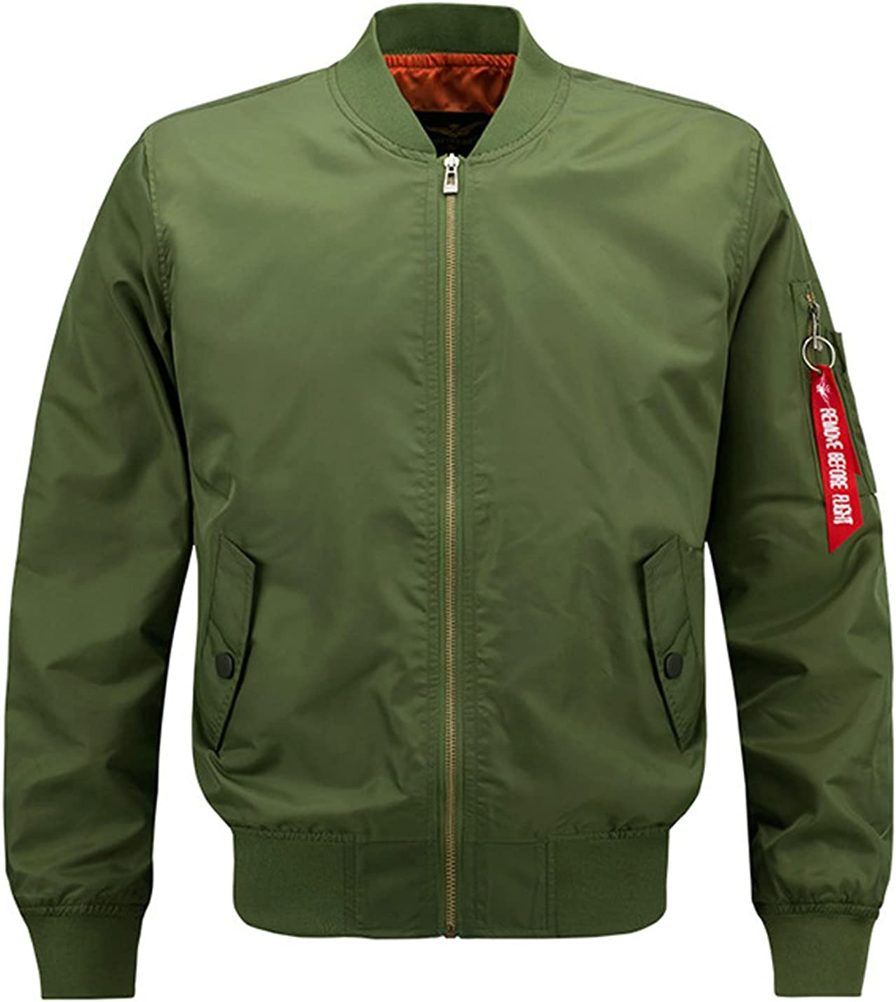 Wan-T Mens Bomber Military Thicken Ma-1 Flight Stand Collar Zipper Jackets