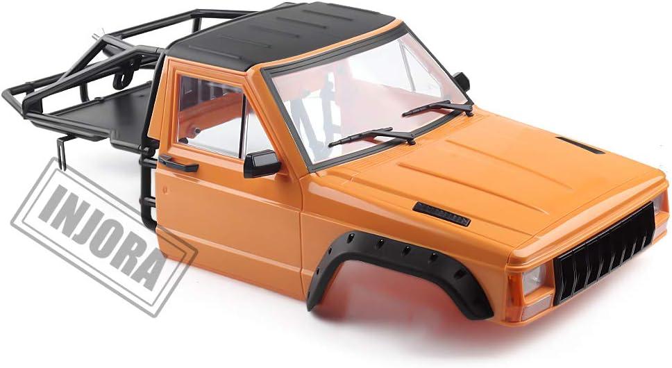 INJORA RC Carrocería Corpo Cuerpo RC Front Cab con Back-Half Cage Cherokee Body Car Shell para 1/10 RC Crawler Traxxas TRX4 Axial SCX10 90046 Redcat ...