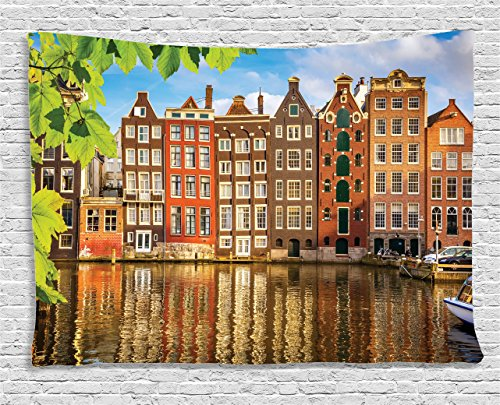 (Ambesonne European Cityscape Decor Collection, Old Buildings in Amsterdam Nothern Fairy Cultural Nertherlands City with the River, Bedroom Living Room Dorm Wall Hanging Tapestry, 60 X 40 Inches, Multi)