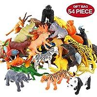 Figura de animales, Juego de juguetes de 54 piezas de animales de la mini jungla, ValeforToy Realista Vinilo salvaje Plástico Aprendizaje de animales Favores de fiesta Juguetes para niños Niñas Niños Niños pequeños Niños pequeños Juegos Playset Cupcake