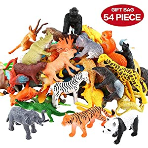 Animals Figure,54 Piece Mini Jungle Animals Toys Set,ValeforToy Realistic Wild Vinyl Plastic Animal Learning Party Favors Toys For Boys Girls Kids Toddlers Forest Small Animals Playset Cupcake Topper - 61v 2BlRstleL - Animals Figure,54 Piece Mini Jungle Animals Toys Set,ValeforToy Realistic Wild Vinyl Plastic Animal Learning Party Favors Toys For Boys Girls Kids Toddlers Forest Small Animals Playset Cupcake Topper