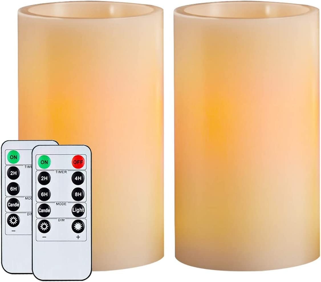 "Homemory 5"" Wax Flameless Candles, Battery Operated LED Pillar Candles with Remote Control & Timer, Amber Yellow Flickering Light for Party, Wedding, Festival (Set of 2, Ivory), Indoor Only"