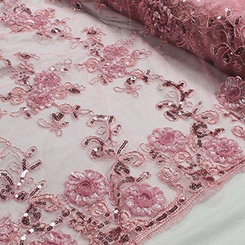 Pink 51'' Teresita 3D Floral Foil Vines with Sequin Lace on Mesh Lace Fabric Foil Mesh Dress