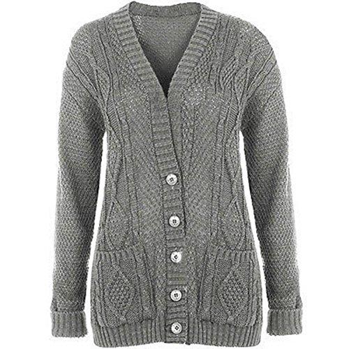 Cárdigan largo para mujer con ochos en tallas grandes, 36-50 gris claro