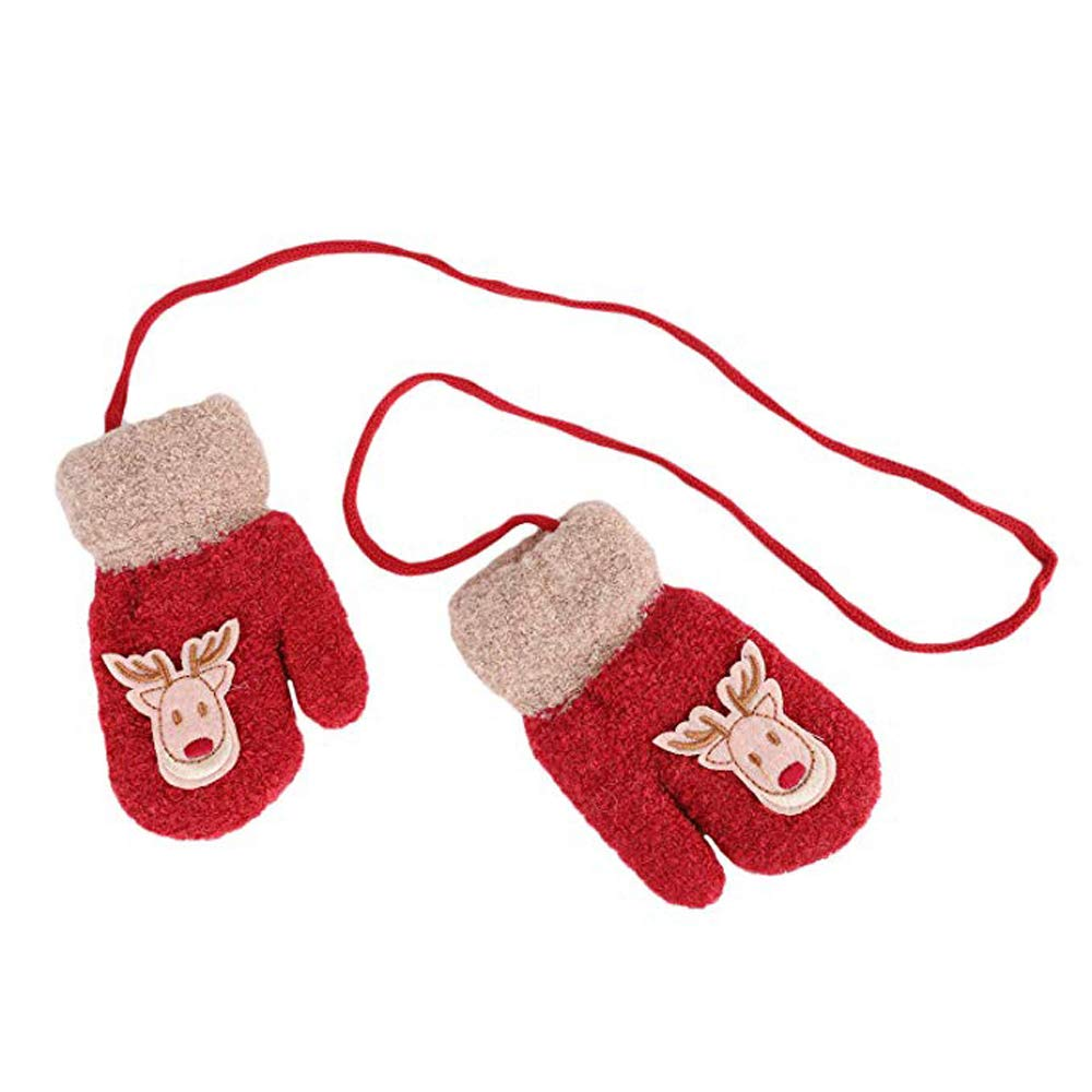 Knit Toddler Gloves Warm Thick Lined Hand Full Finger Baby Mittens with String