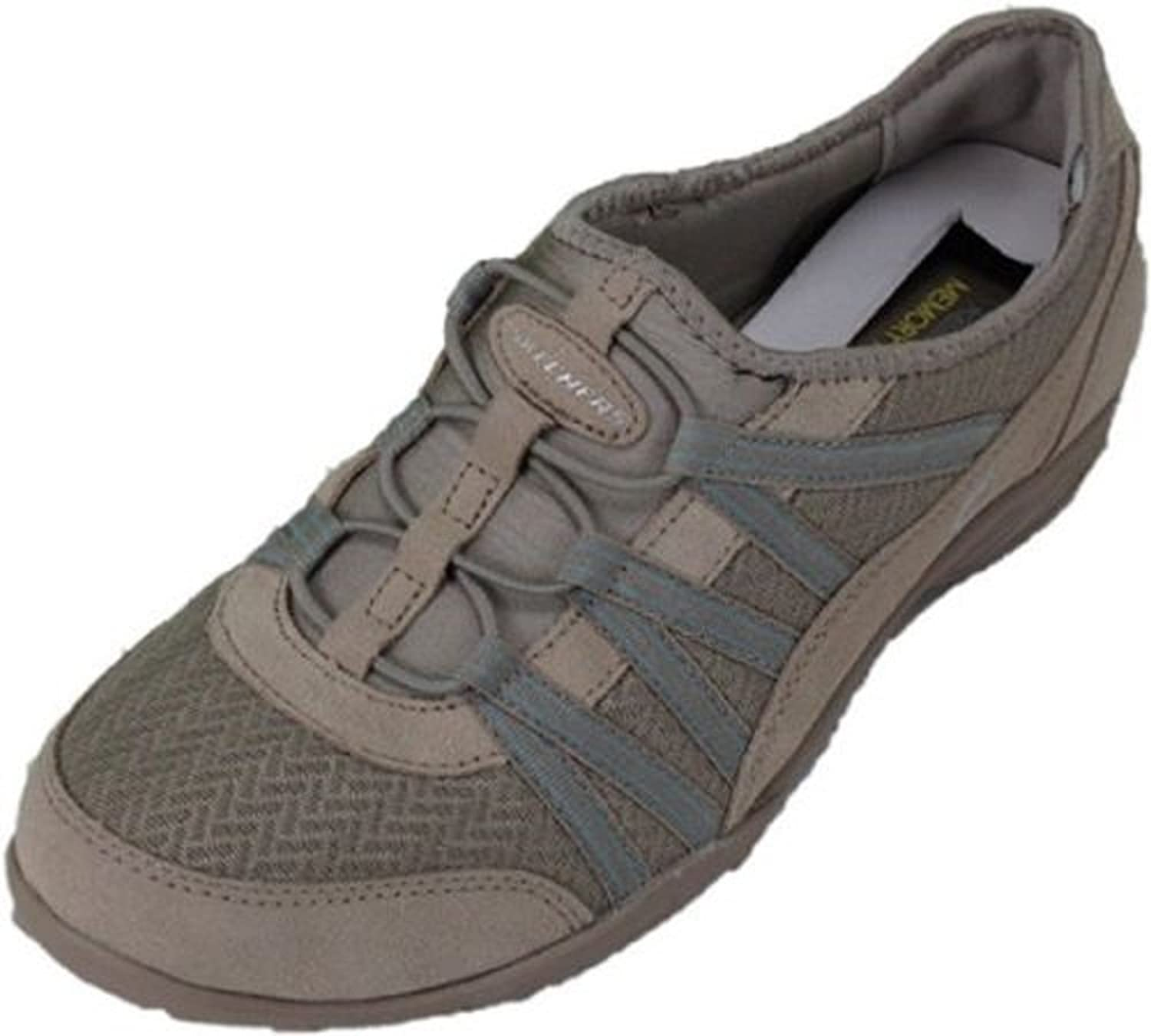 Skechers Ladies Movin Easy Relaxed Fit with Memory Foam Shoes TAUPE 7.5