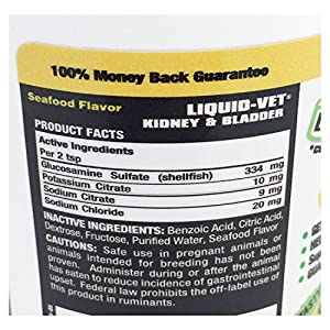 Liquid-Vet Cat Kidney and Bladder Formula – Fast Acting Glucosamine and Electrolytes for Kidney and Bladder Aid in Felines – Seafood Flavor – 8 Fluid Ounces