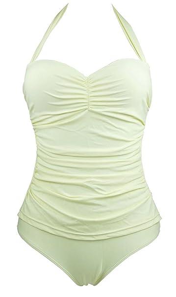 9ea7536955 RACHAPE 50s Elegant Inspired Retro Vintage One Piece Pin Up Monokinis  Swimsuit beige XS