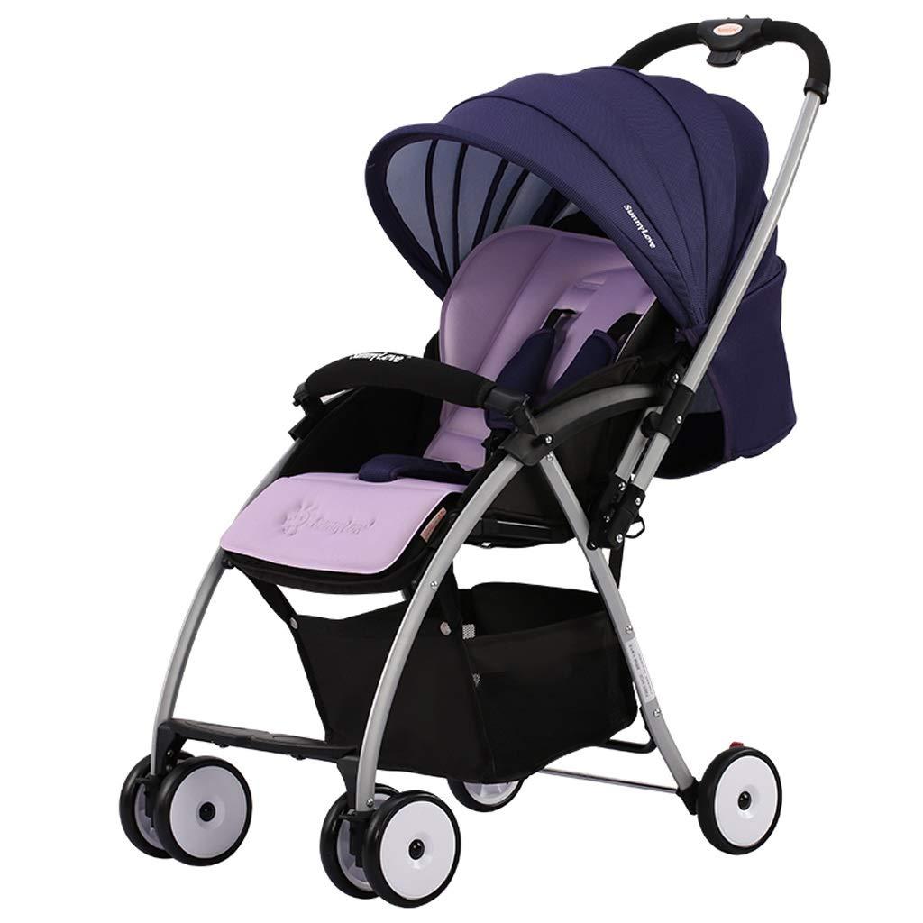 100%のブランドの新しいベビーカー ベビーカー、傘が付いている軽い携帯用二方向調節可能な日除けの速い折るライト 旅行する (Color : Purple)  Purple B07T728KJ5