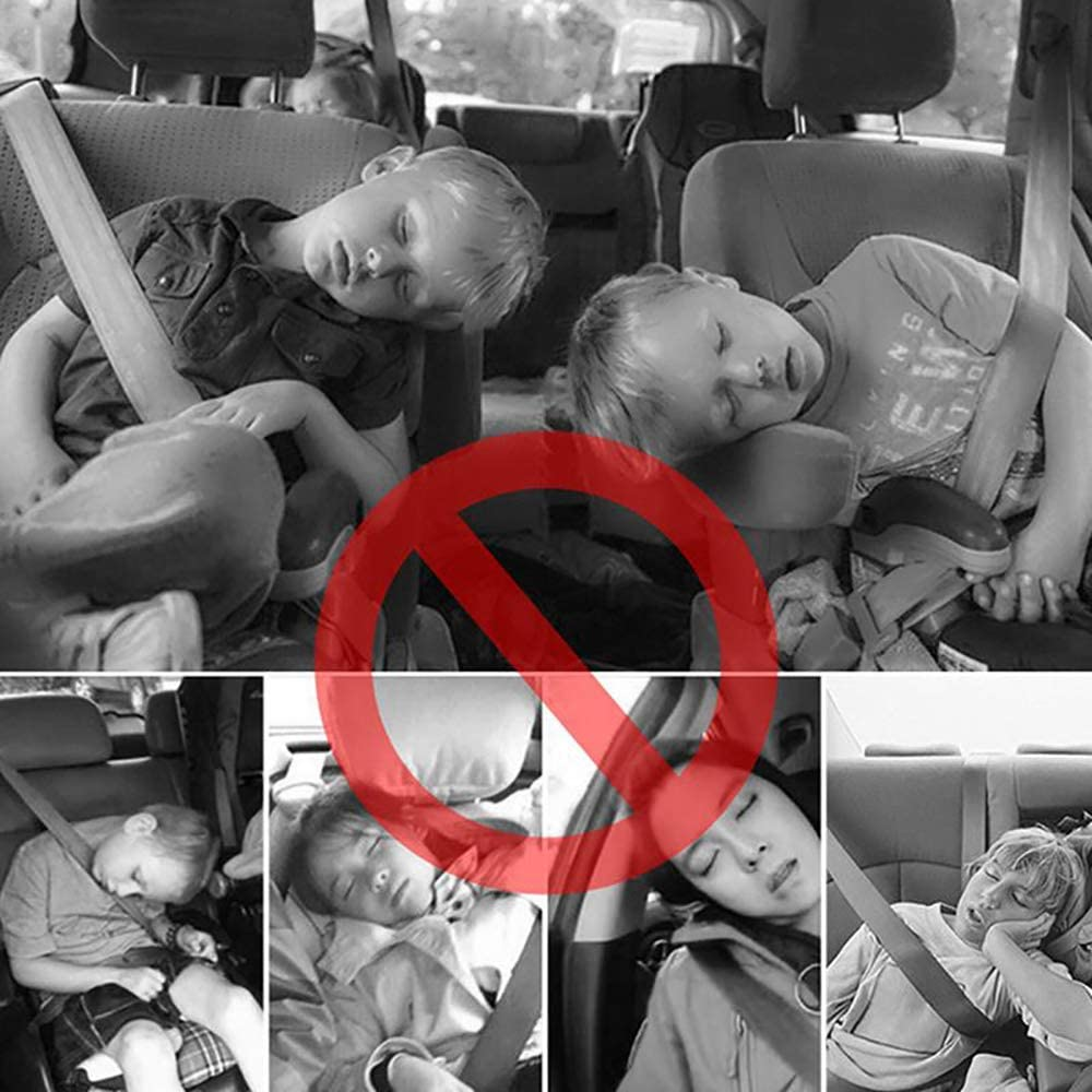 Car Head Rest Neck Support HausFine Car Headrest Children Mountable Fold-Up Pillow Neck Pillow for Car Seat Support on Both Sides Ideal for Travel or Night Driving Sleeping