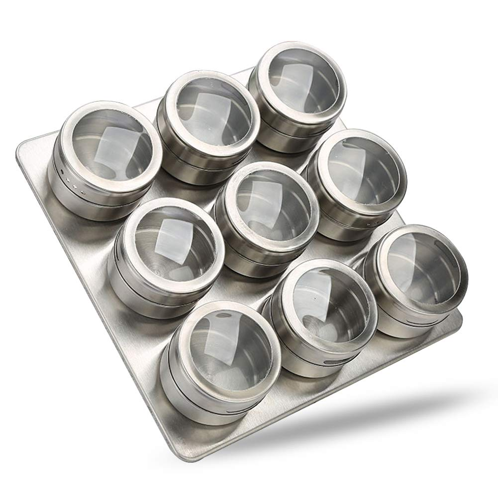Ctlite magnetica portaspezie, acciaio inossidabile Spice organizer per contenitori spezie contenitori dosatori condimenti contenitore per frigorifero, grill o metallo pareti 12 Packs With Tray