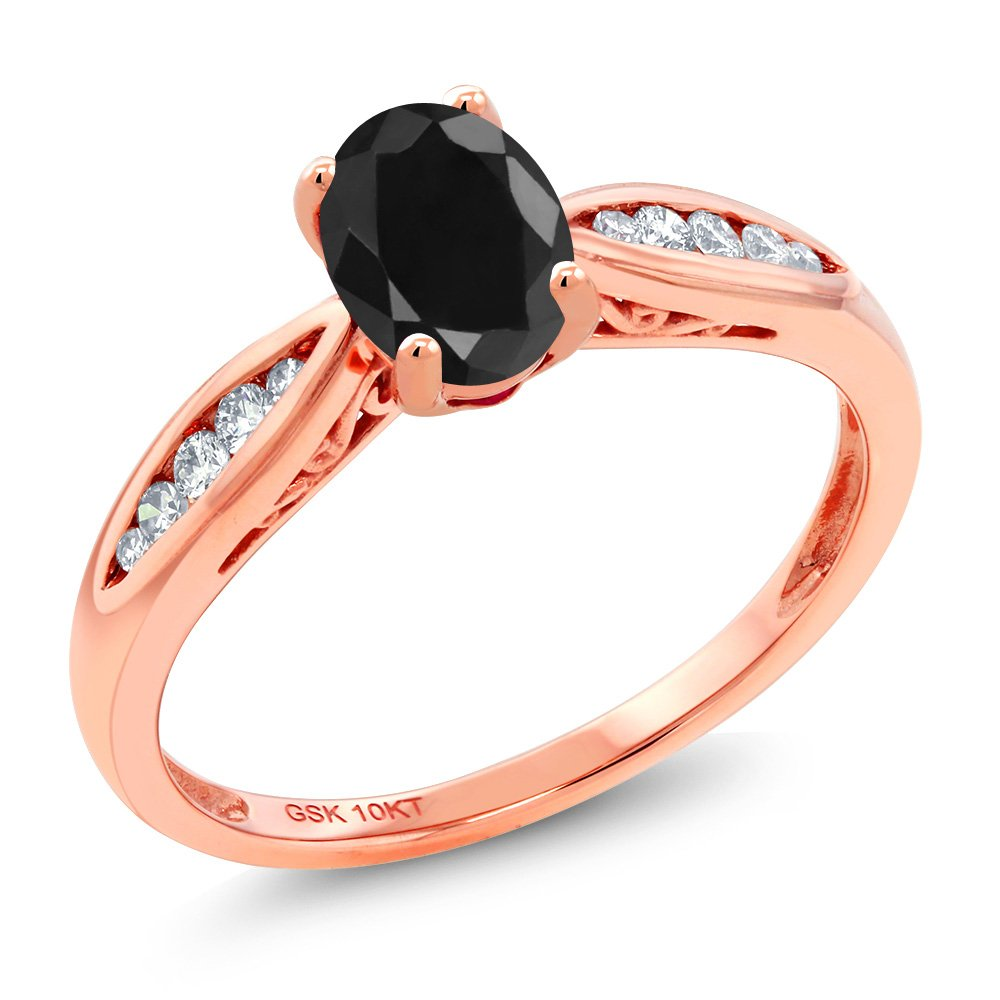 Gem Stone King 10K Rose Gold 1.14 Ct Oval Black Sapphire and Diamond Engagement Ring (Size 8)