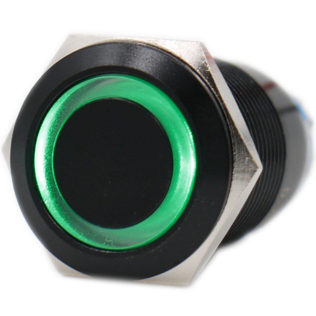 Heschen Black Metal Momentary Push Button Switch 19mm (3/4') 12 VDC Eagle Eye Green LED IP 67 Heschen Electric Co.Ltd HS19MG-12