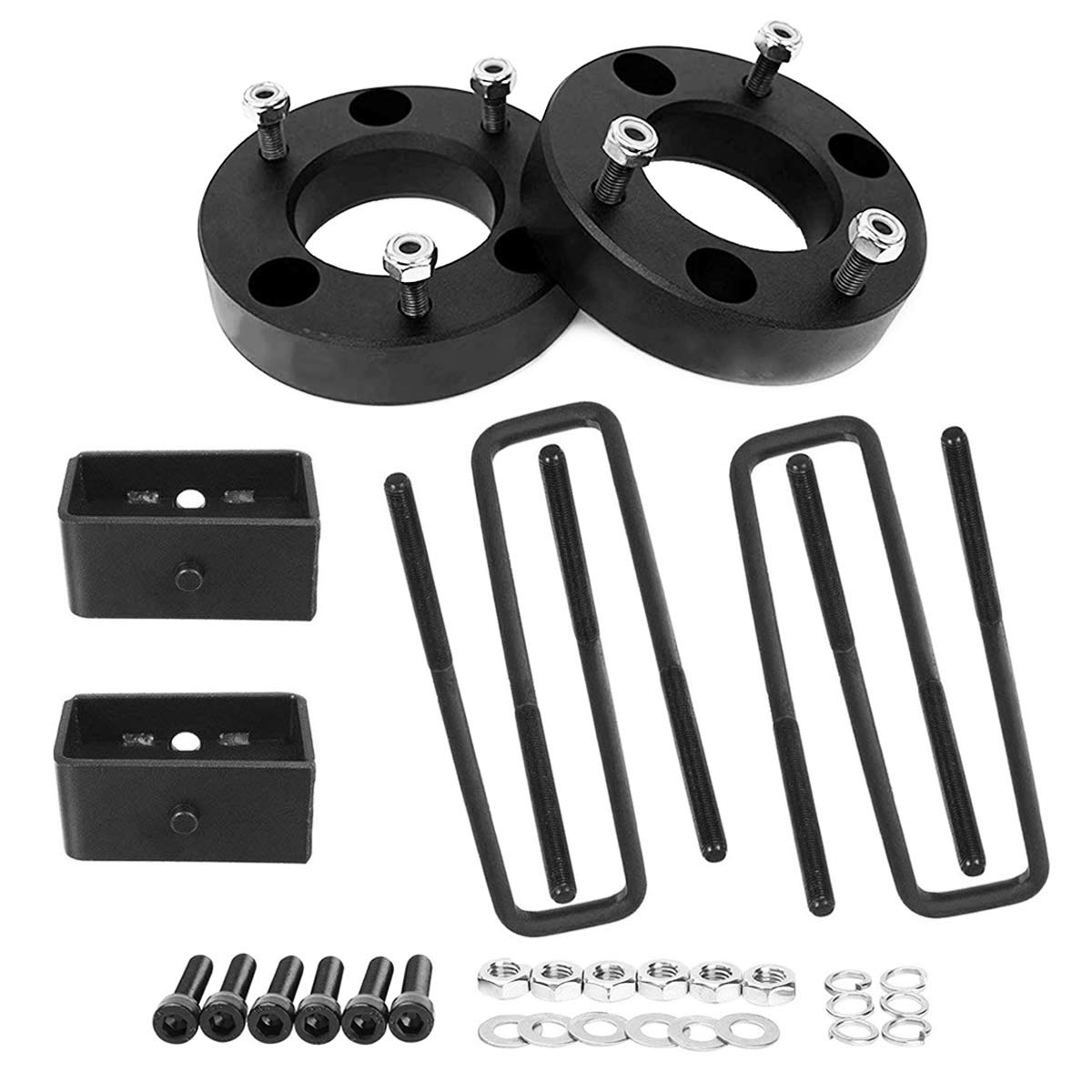 Autoxrun U-Bolts Kit Fits 2007-2018 Chevy Silverado GMC Sierra Front 3 Leveling Lift Spacer and 2 Rear Lift Block
