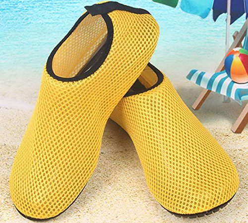 Chaussures De Peau De Leau Pieds Nus Souples Et Flexibles Aqua Chaussettes Pour La Plage Nagent Surf Exercice De Yoga Jaune