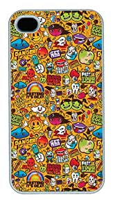 iPhone 4s Case & Cover - Colorful Sticker Illustrations PC Case For iPhone 4 and iPhone 4S White
