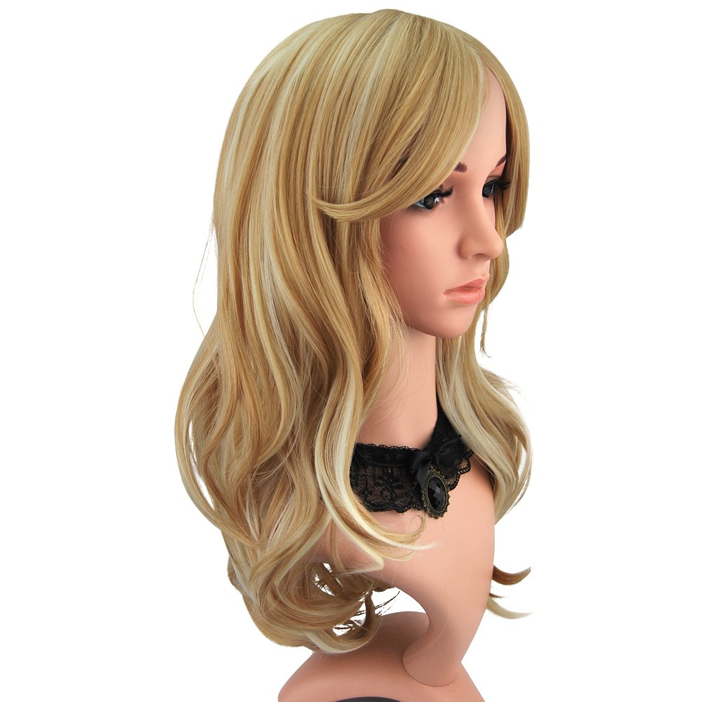 Enilecor 2 Tones Blonde Mixed Golden Highlights Wigs 20 Inch Medium Long Curly Natural Women Heat Resistant Synthetic Hair Cosplay Party Wig with Side Bangs+ Wig Cap ? by eNilecor
