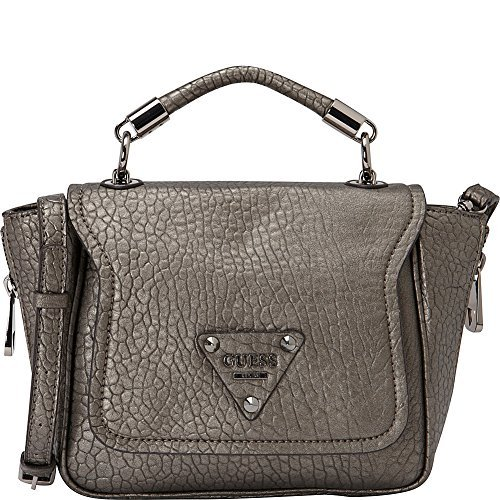(GUESS Women's Off Beat Crossbody Top-Handle Flap Pewter Clutch)