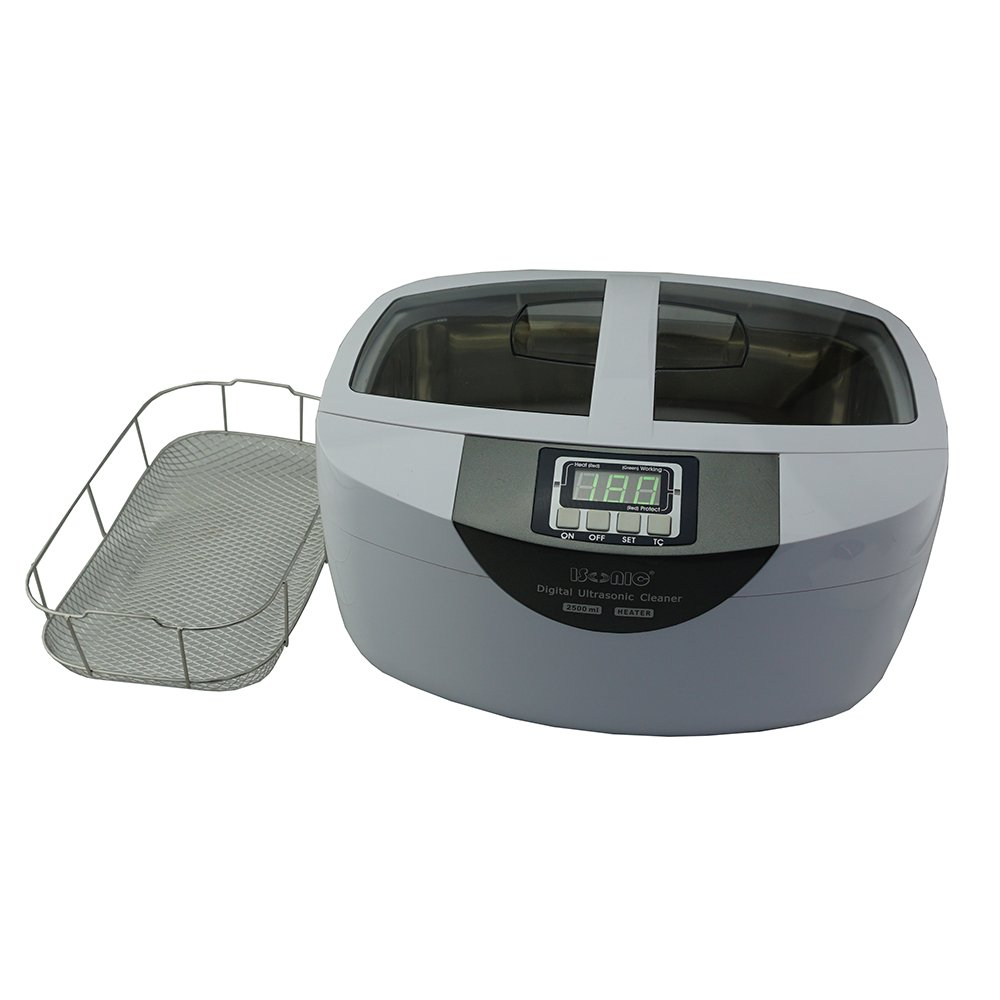 iSonic P4820-WSB Commercial Ultrasonic Cleaner, 2.6Qt/2.5L, White Color, Stainless Steel Wire Mesh Basket, 110V