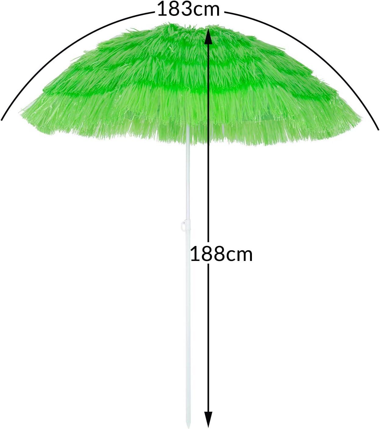 180 cm inclinabile regolabile robusto e stabile verde Kingsleeve Ombrellone da spiaggia Mare Hawaii in Paglia sintetica /Ø160cm Altezza