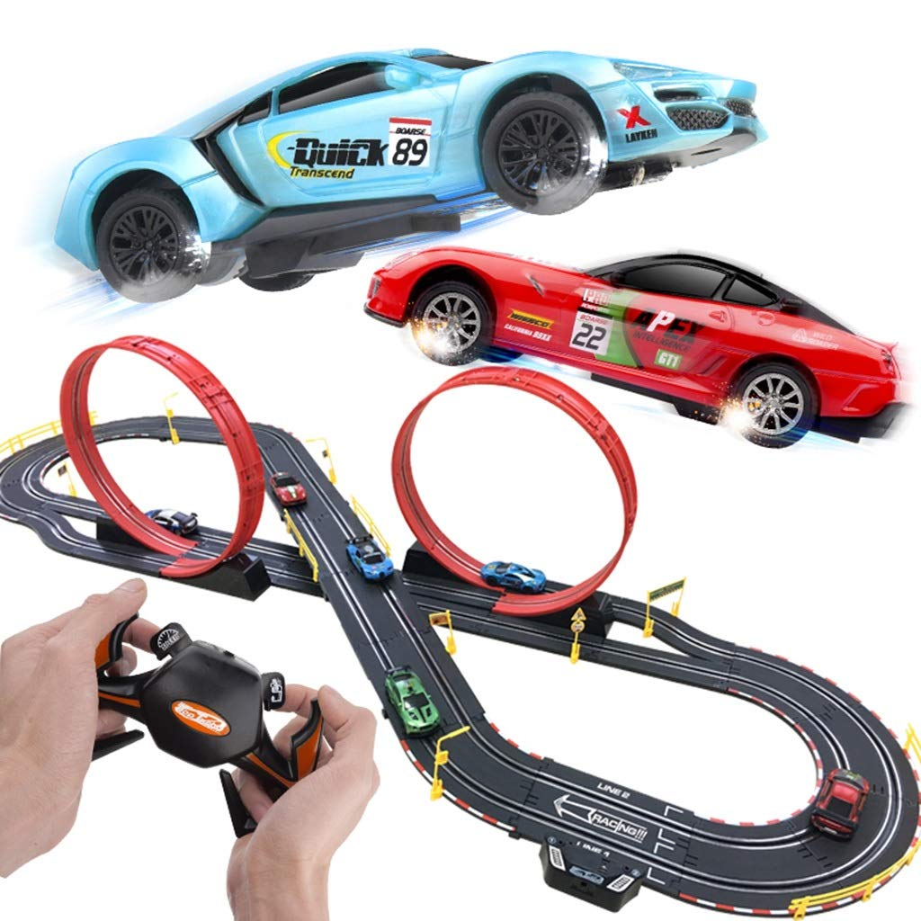 LINGLING-Track Track Athletics Racing Track Car Assembly Boy Educational Toy Car Children Car Track Children's Toys Birthday Gift (Color : 2 car+20 Brush, Size : 6.2m)
