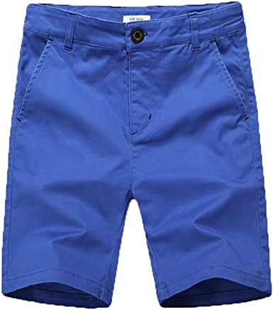 BYCR Big Boys Solid Color Cotton Elastic Waist Casual Shorts for Kids