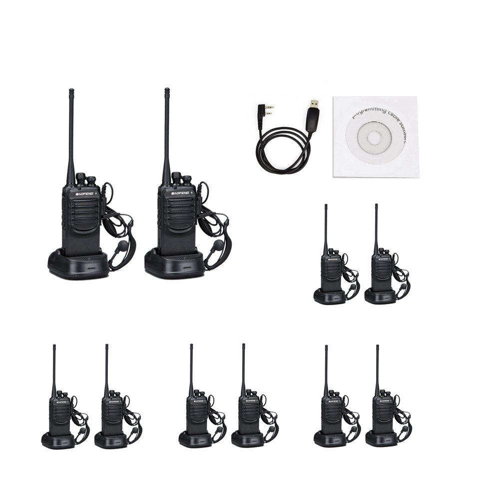 BAOFENG Walkie Talkies with Earpieces Mic and Reachargeble BF-888SA 10 Packs for Adults Trolling Camping Hiking Hunting Travelling 2 Way Radios