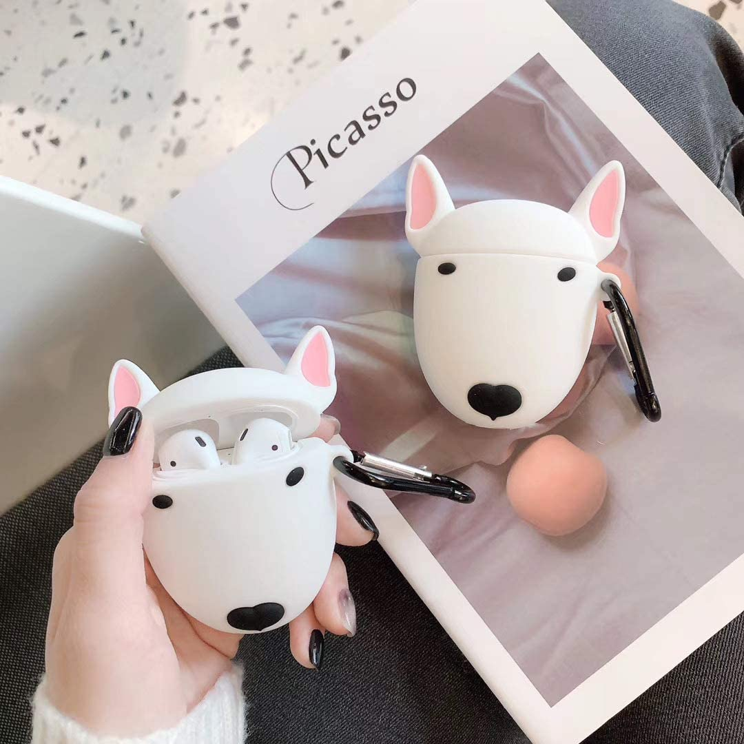 Super Cute Creative Funny Small Eyes Bull Terrier Dog AirPods Case BONTOUJOUR AirPods Case Stylish White Face Puppy Soft Silicone Earphone Protection Skin for AirPods1/&2+Hook