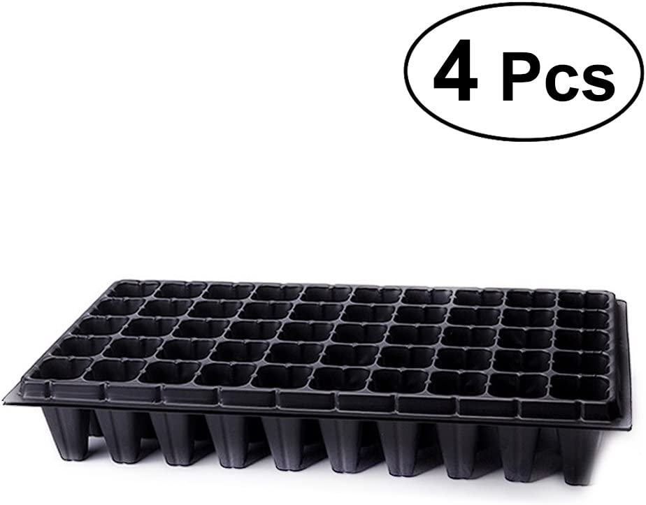 BESTonZON 4pcs Seed Sprouter Seedling Bandejas de Inicio Seed Sprouter Bandejas Germination Trays, 50 Holes Tray Plant Grower (Negro)