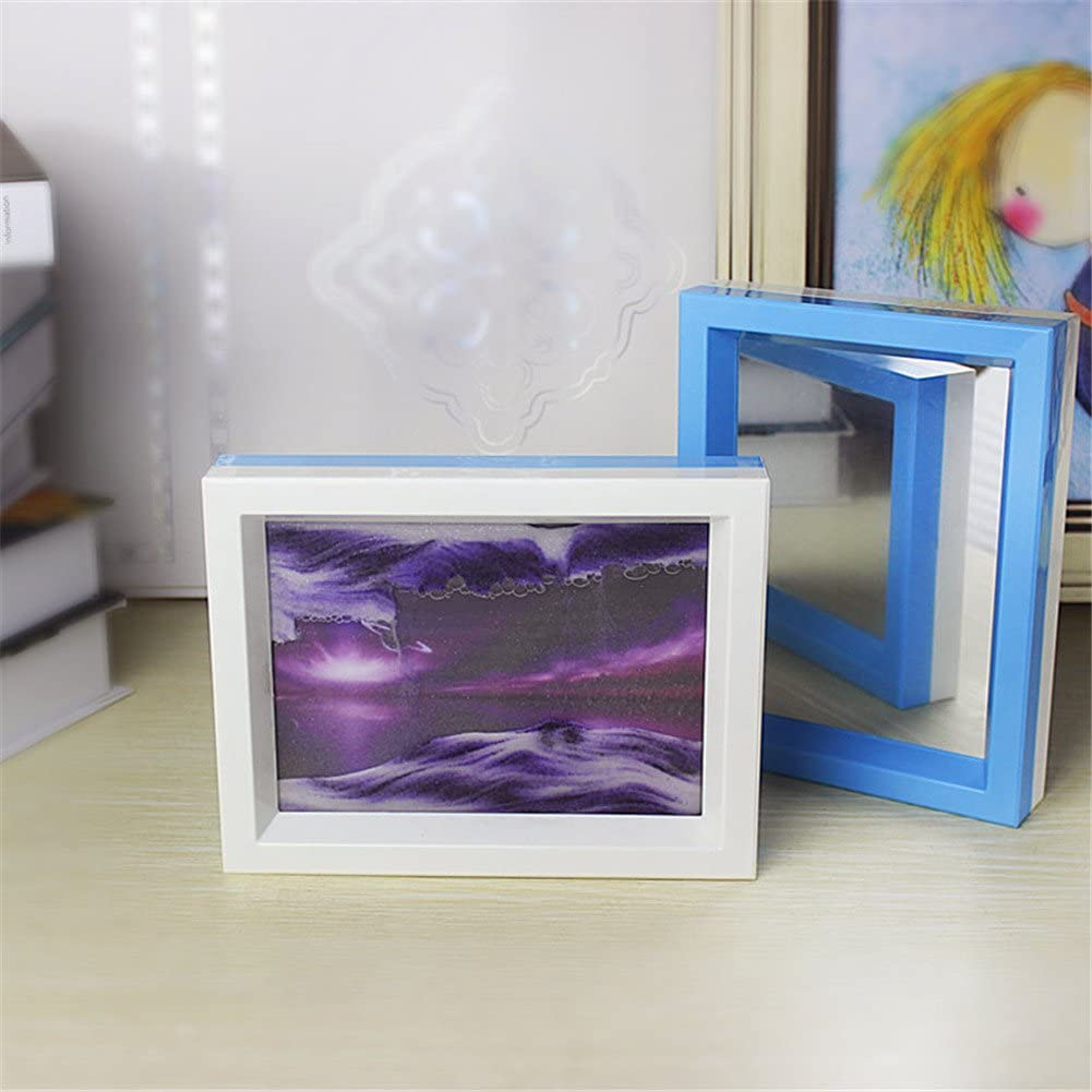 Deerbird® Two Color Moving Sand Art Painting Psychedelic Starry Pattern Flowing Sand Picture 3D Effection Dynamic Hourglass Attached Mirror