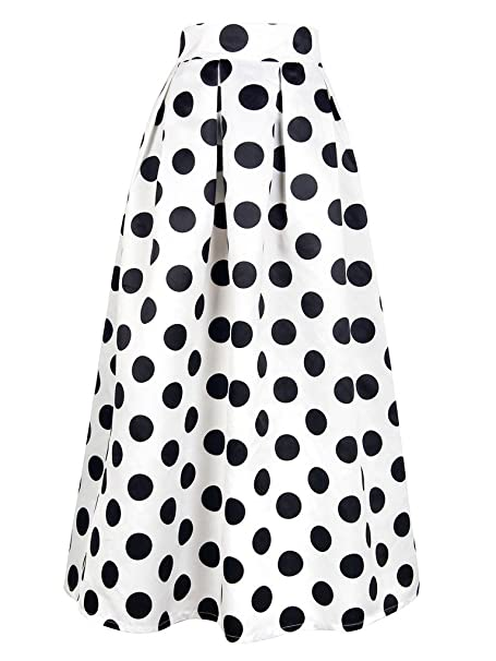 1950s Swing Skirt, Poodle Skirt, Pencil Skirts Persun Womens Blue Contrast Polka Dot Print Maxi Skater Skirt $28.99 AT vintagedancer.com