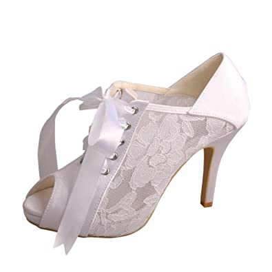 07fbc131ff8 Wedopus MW719 Women s Peep Toe Lace-Up Boots High Heel Lace Platform Wedding  Bridal Pumps