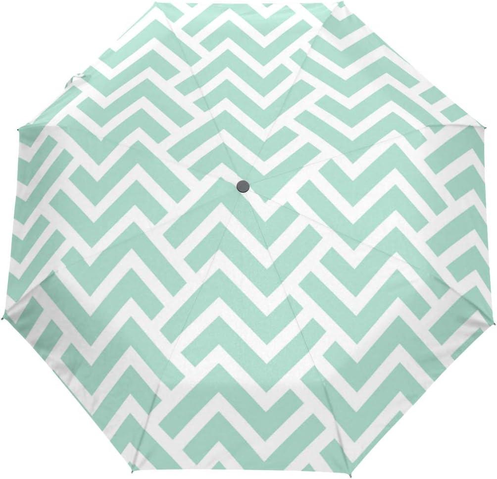 SUHETI Paraguas automático de Apertura/Cierre,Patrón geométrico Rayas Fondo Transparente Vector,Paraguas pequeño Plegable a Prueba de Viento, Impermeable