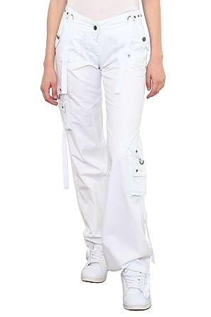 4705b1b5f225 Noir Triple XXX Pantalon - Cargo - Femme Blanc blanc - Blanc - Taille Unique
