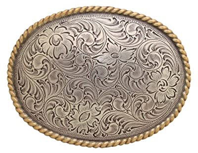 Antique Silver and Gold Rope Western Belt Buckle