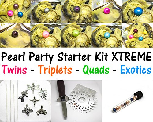 Pearl Party Starter Kit Extreme - 30 Akoya Oysters w/ 2x Quadruplet + 4x Triplets + 4x Twins + 20 Exotic Single Akoya Oysters + 10 Pearl Cage Pendant - Oysters Live