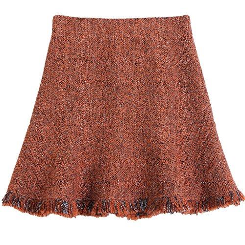 Faldas Otoño E Invierno Mujeres Párrafo Flash Una Falda Corta Falda Umbrella Naranja