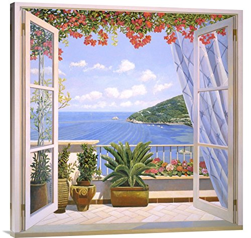 """Global Gallery """"Andrea Del Missier Finestra Sul Mare"""" Gallery Wrap Giclee on Canvas Print Wall Art, 36"""" x 36"""" from Global Gallery"""