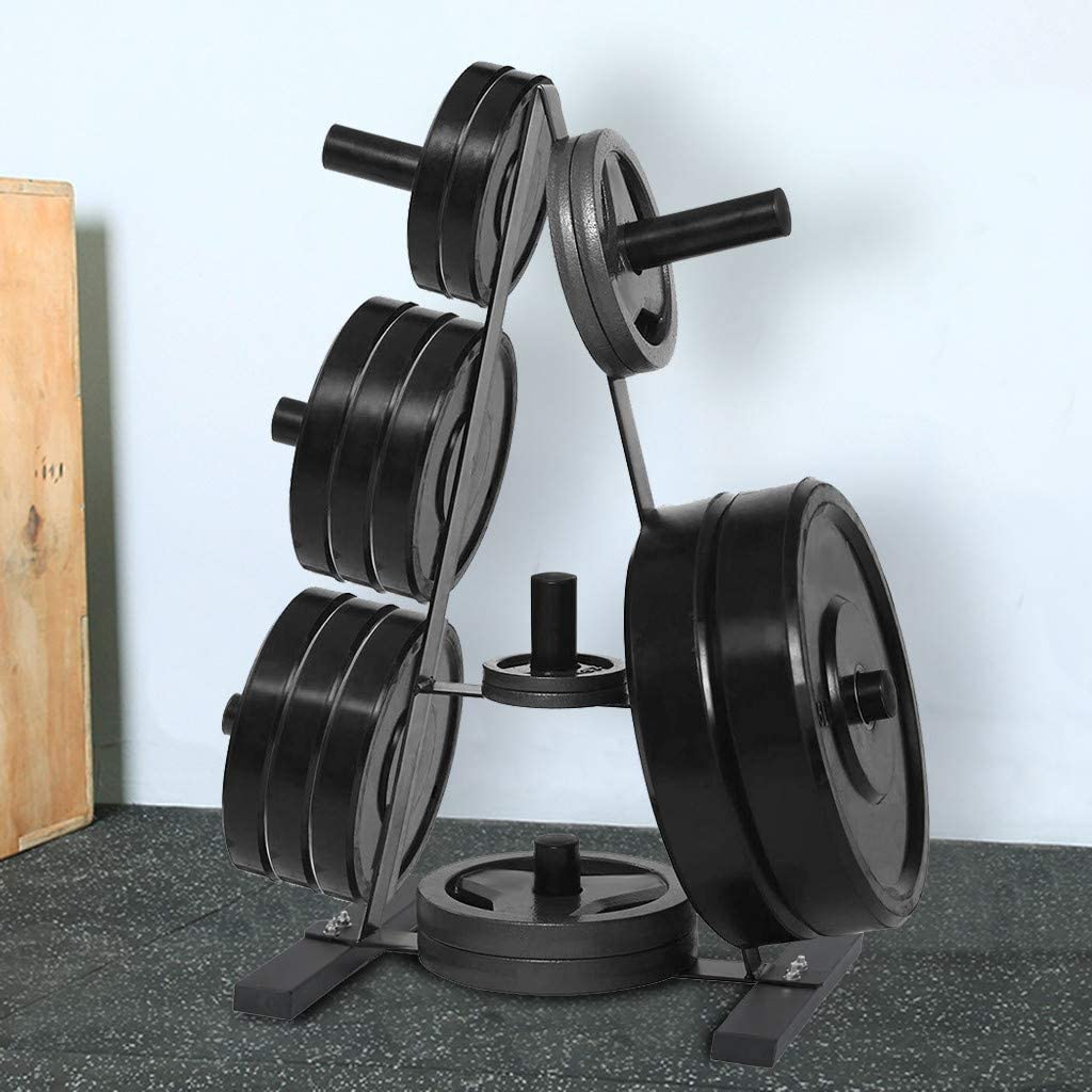 Olympic Weight Plate Rack Three Weight Plate Tree 2 inch for Bumper Plates Free Weight Stand Metal Steel Home Workout Dumbbells Rack Minikoad Dumbbell Rack Barbell Tree for Weights and Bar Black