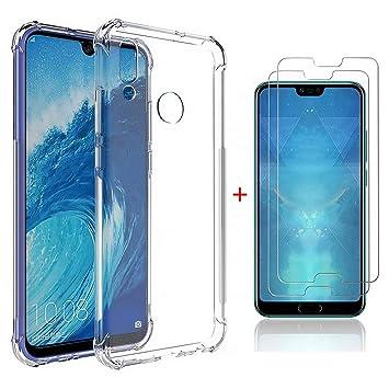 DYGG Compatible con Funda para Huawei Honor 10 Lite/P Smart 2019, Carcasa Forro Transparente TPU Silicona Flexible Case+[2* Protector de Pantalla]